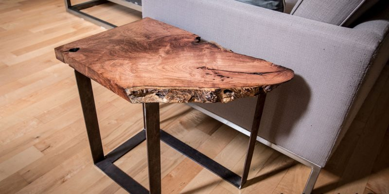 Slab Mesquite Table with Steel Legs