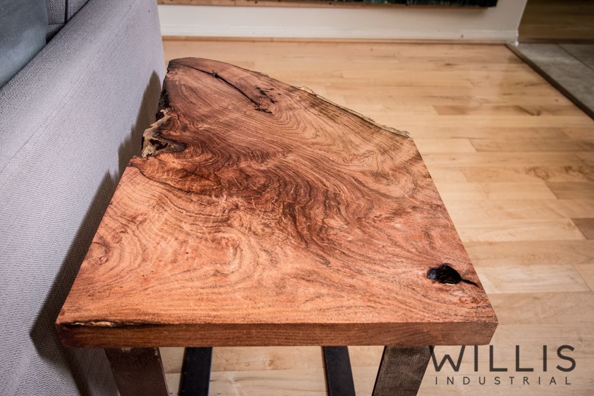 Willis Industrial Furniture | Rustic, Modern Furniture | Slab Mesquite Table with Steel Legs