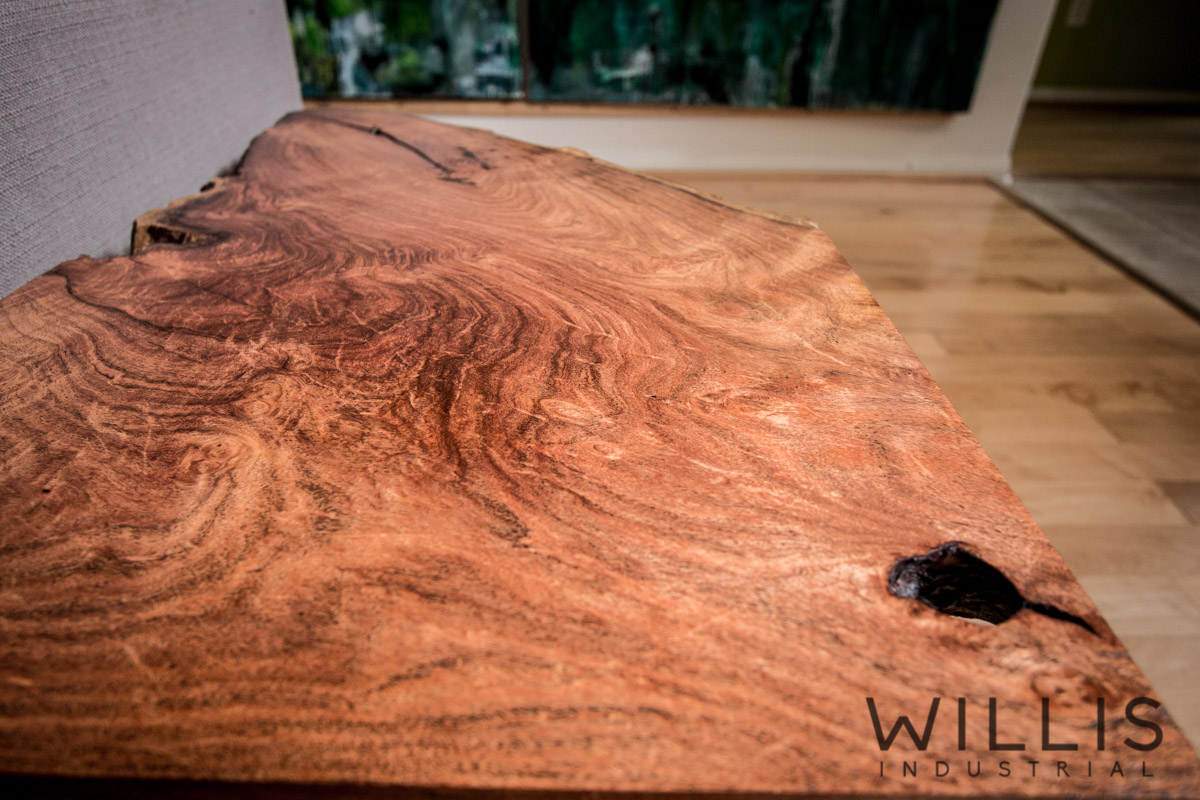 Willis Industrial Furniture   Rustic, Modern Furniture   Slab Mesquite Table with Steel Legs