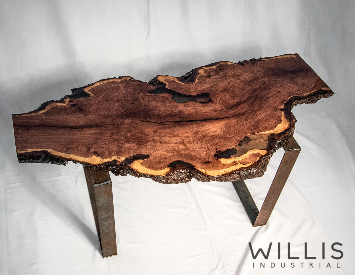 Willis Industrial Furniture | Rustic, Modern Furniture | Mesquite Table with epoxy top. Steel square legs