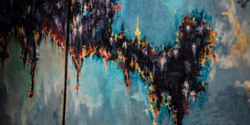Large 3 Panel Abstract Painting