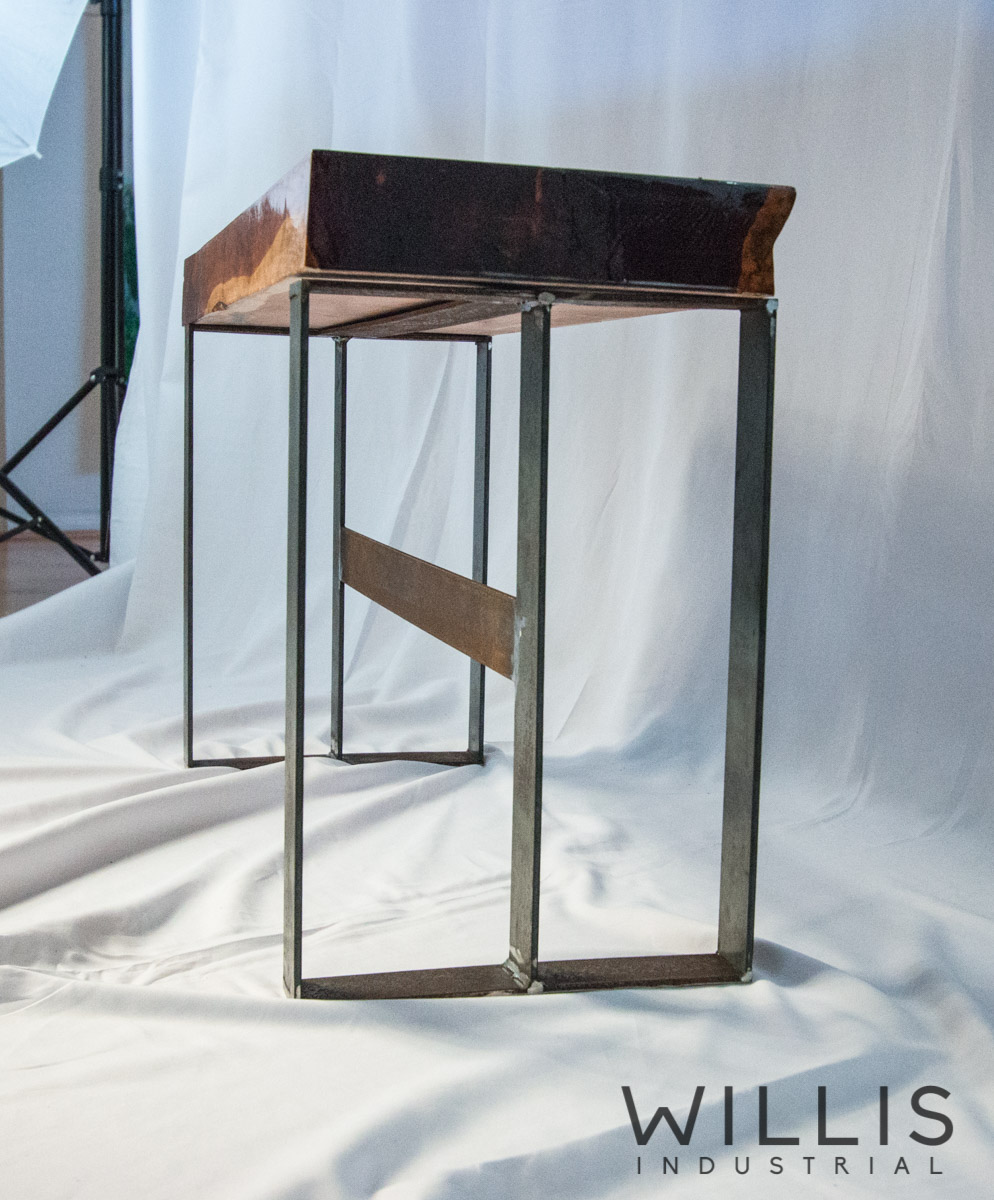 Willis Industrial Furniture | Rustic, Modern Furniture | Epoxied Cedar Slab Table with Steel Legs