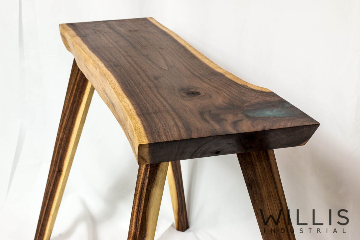 Willis Industrial Furniture | Rustic, Modern Furniture | Walnut slab table with blue epoxy filling and wood legs