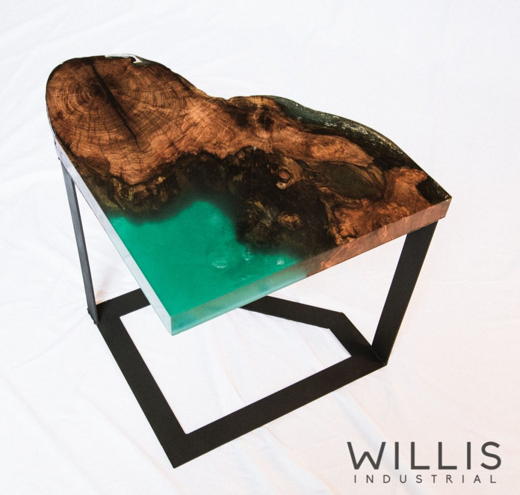 Willis Industrial Furniture | Rustic, Modern Furniture | Mesquite and Epoxy open edged Table