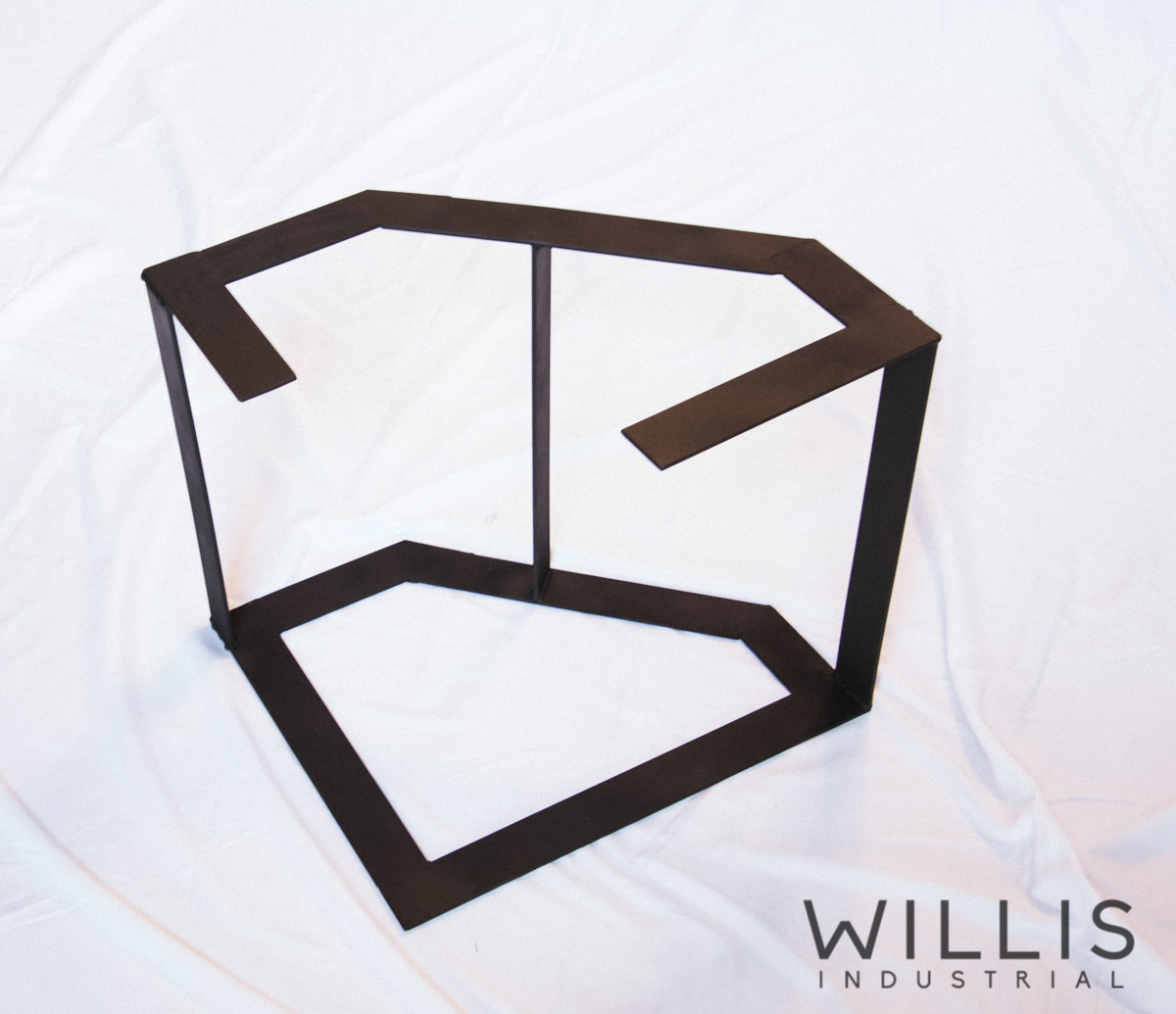 Willis Industrial Furniture | Rustic, Modern Furniture | Metal Stand for Mesquite and Epoxy open edged Table