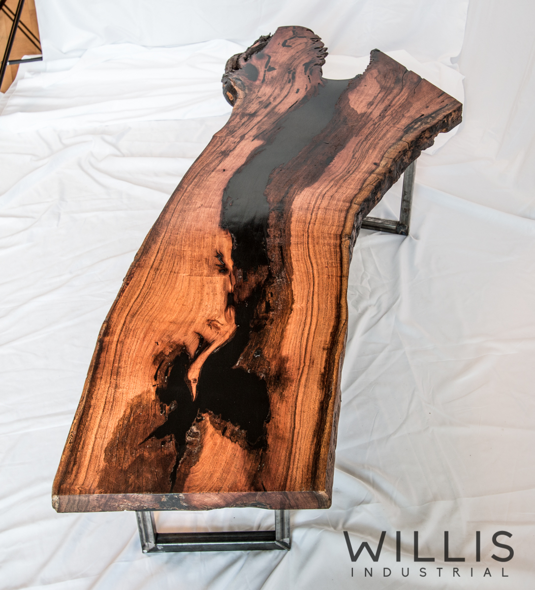 Willis Industrial Furniture | Rustic, Modern Furniture | TA_00014 Mesquite Slab Live Edge with Black Epoxy Filling