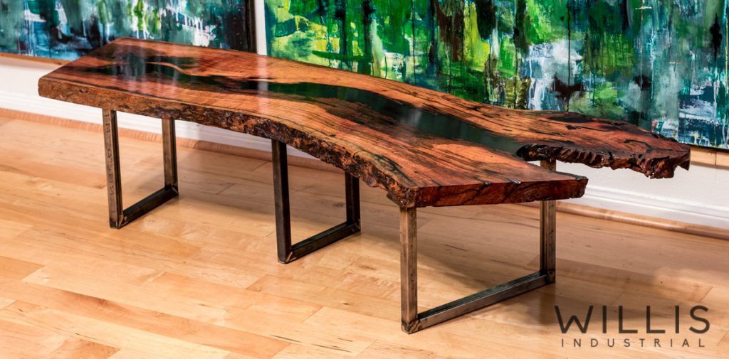 Mesquite Coffee Table with Opaque Epoxy Center – Willis Industrial |
