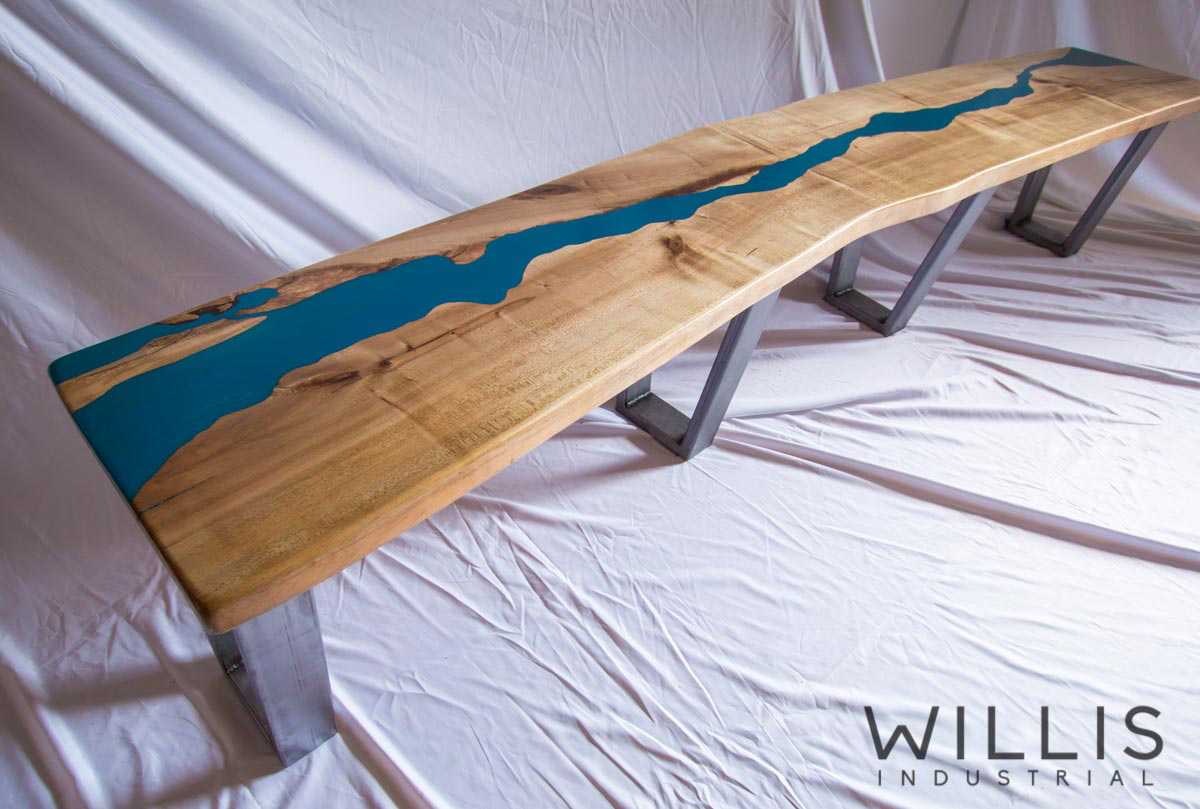 Willis Industrial Furniture | Rustic, Modern Furniture | SE_00001 Bench - blue top epoxy with legs