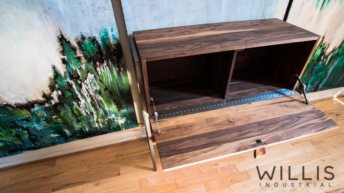 Willis Industrial Furniture | Rustic, Modern Furniture | Walnut Record Player Cabinet with Steel Frame Base