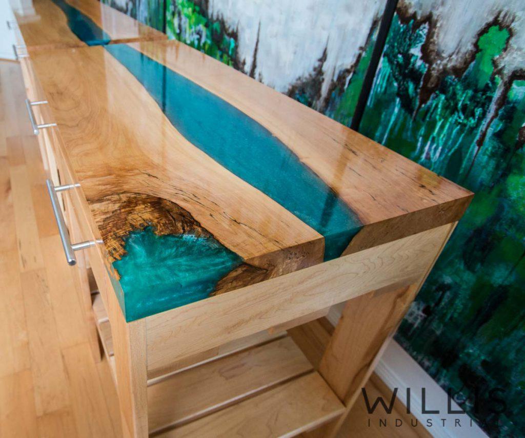 Willis Industrial Furniture | Rustic, Modern Furniture | Maple Framed Cabinet with Maple Slab Top