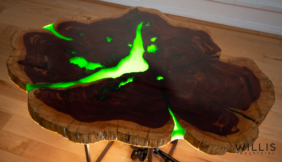 Willis Industrial Furniture | Rustic, Modern Furniture | Live Edge Cedar Round with Green Transparent Epoxy