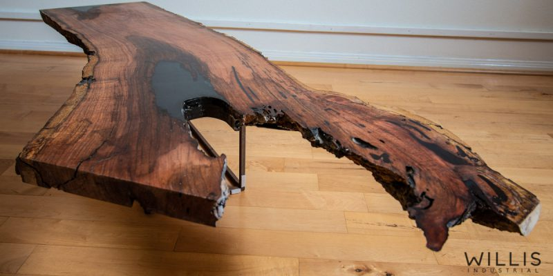 Mesquite Slab Coffee Table with Black Epoxy