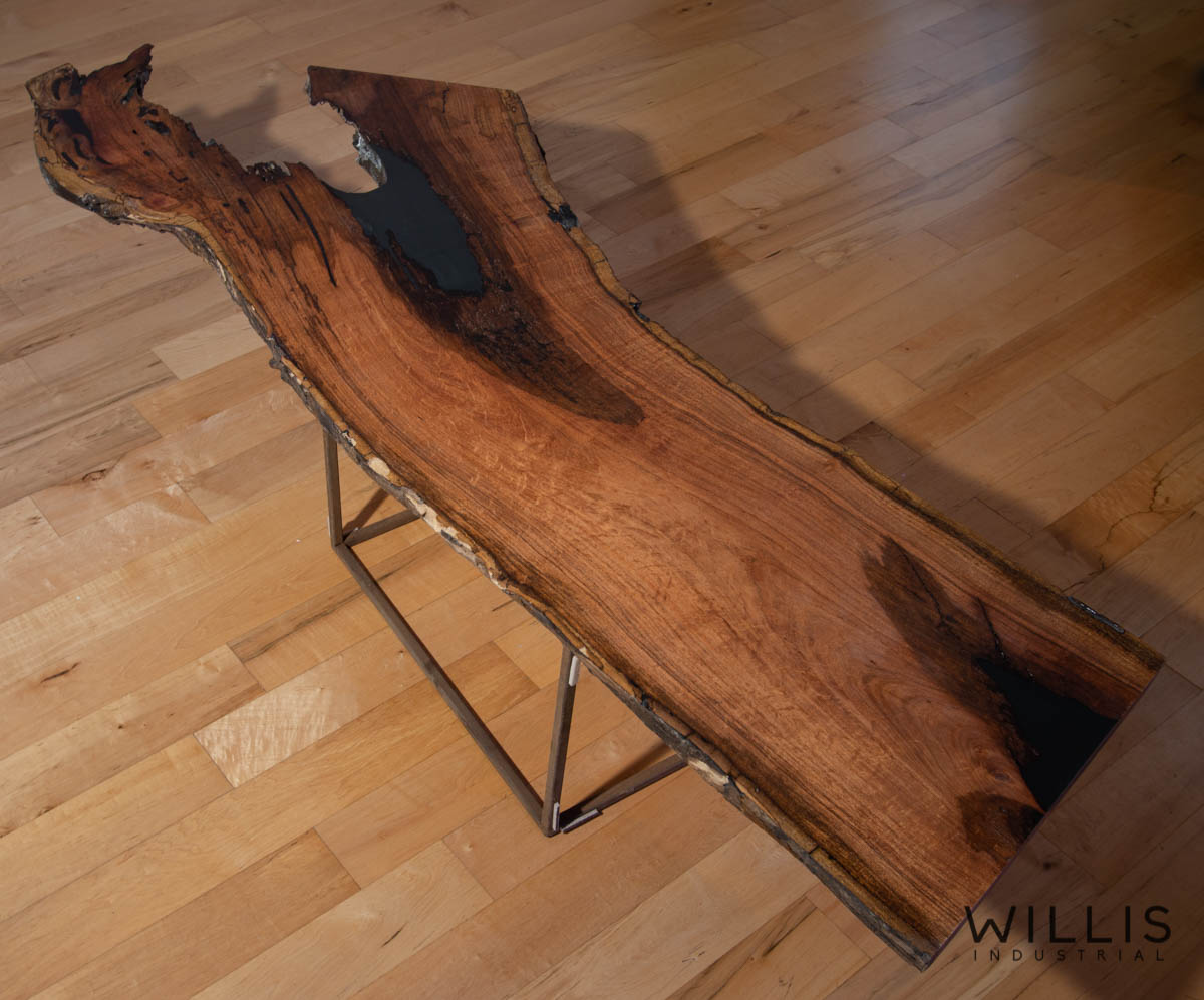 Willis Industrial Furniture | Rustic, Modern Furniture | Mesquite Slab Coffee Table with Black Epoxy
