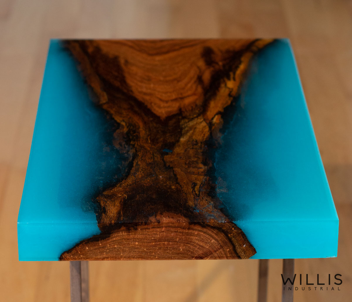 Willis Industrial Furniture | Rustic, Modern Furniture | Mesquite Slab Coffee Table with Transparent Turquoise Epoxy