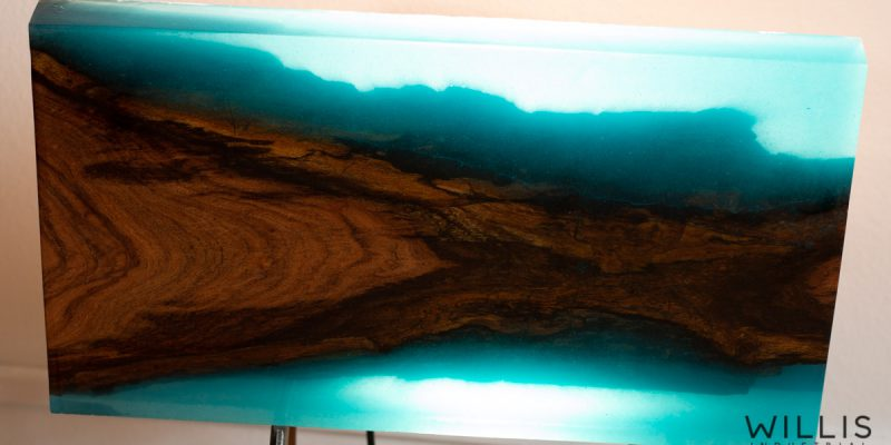 Mesquite Slab Coffee Table with Transparent Turquoise Epoxy