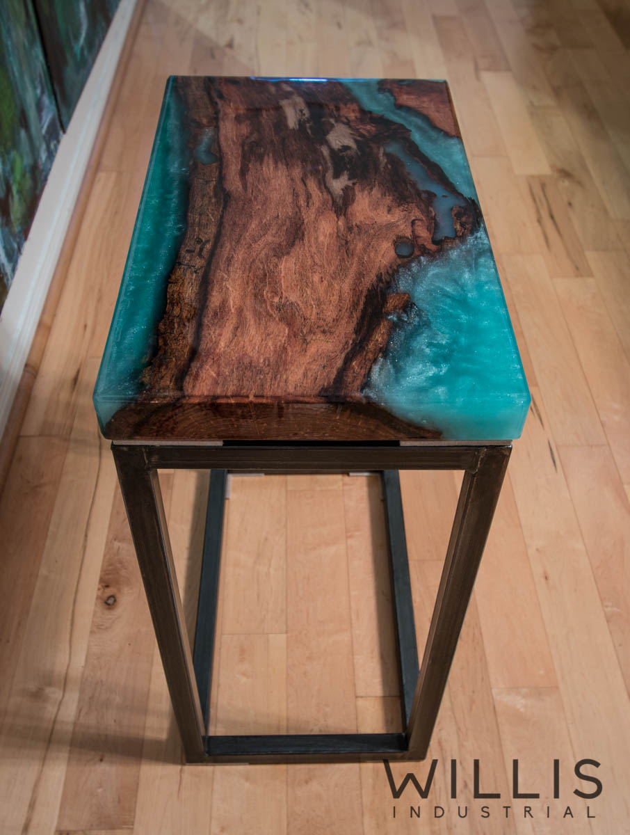 Willis Industrial Furniture | Rustic, Modern Furniture | Mesquite Slab Coffee Table with Metallic Turquoise Epoxy