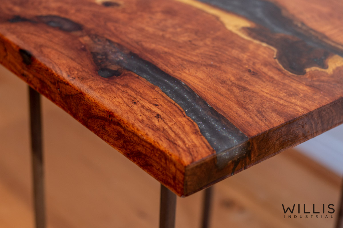 Willis Industrial Furniture | Rustic, Modern Furniture | Mesquite Slab Coffee Table with Silver to Black Metallic Epoxy