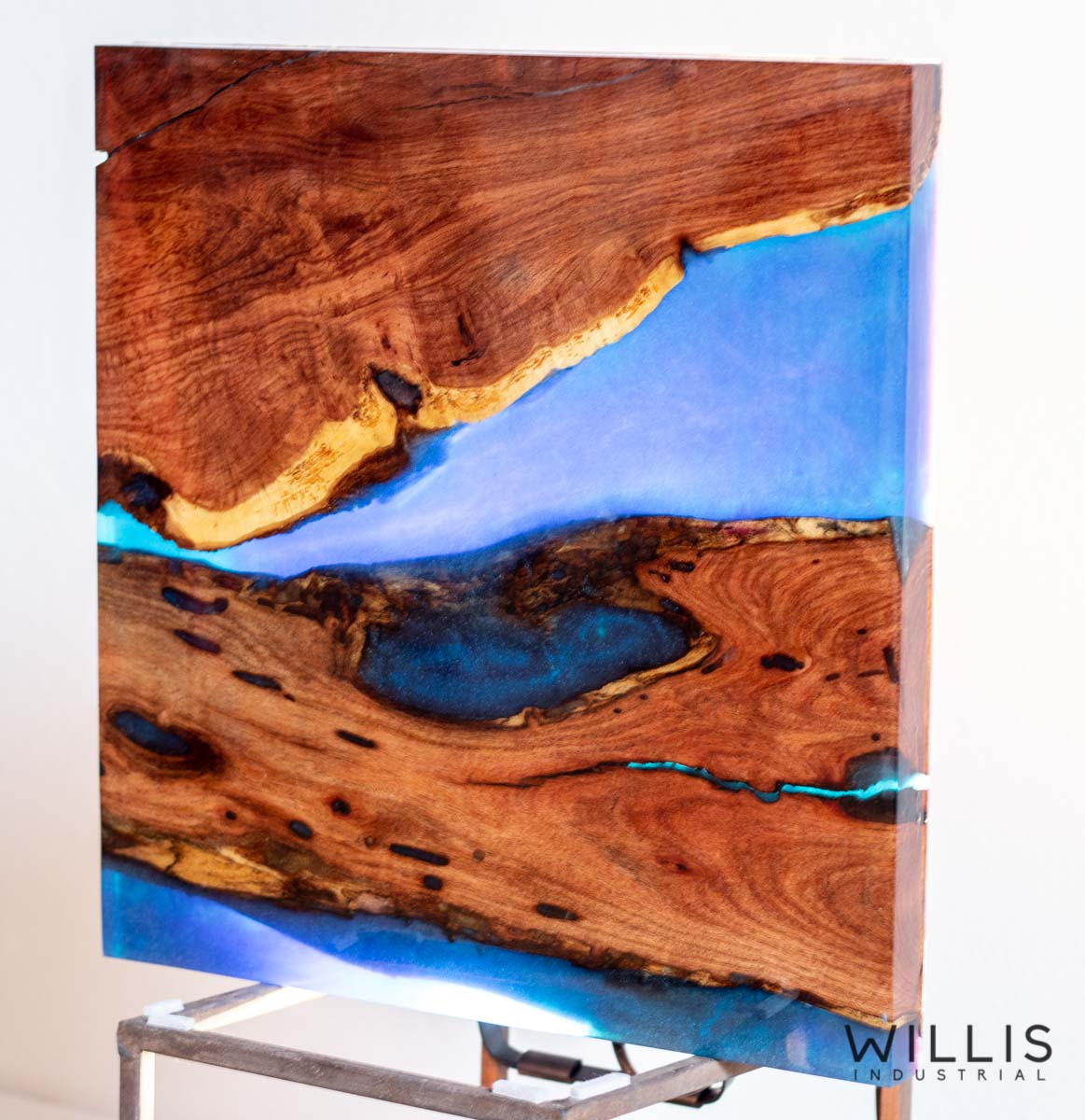 Willis Industrial Furniture | Rustic, Modern Furniture | Mesquite Slab Coffee Table with Azure Blue Metallic Epoxy