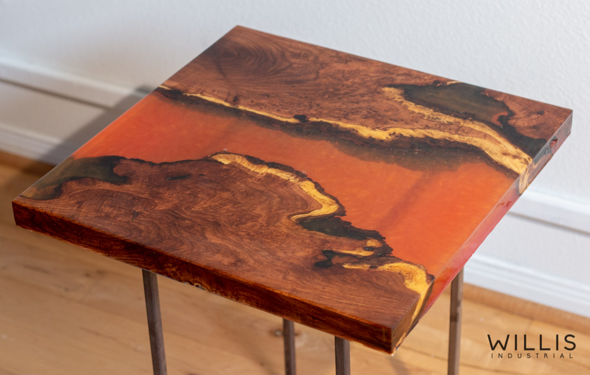 Willis Industrial Furniture | Rustic, Modern Furniture | Mesquite Slab Coffee Table with Red to Yellow Metallic Epoxy