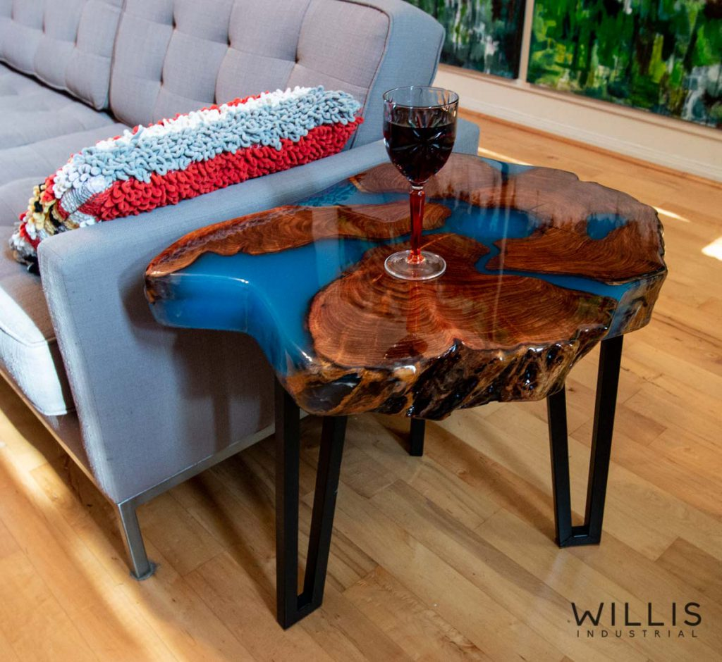 Willis Industrial Furniture | Rustic, Modern Furniture | Mesquite Round Slab with Blue Epoxy & Custom Steel Hairpin Style Legs