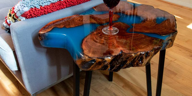 Mesquite Round Slab with Blue Epoxy