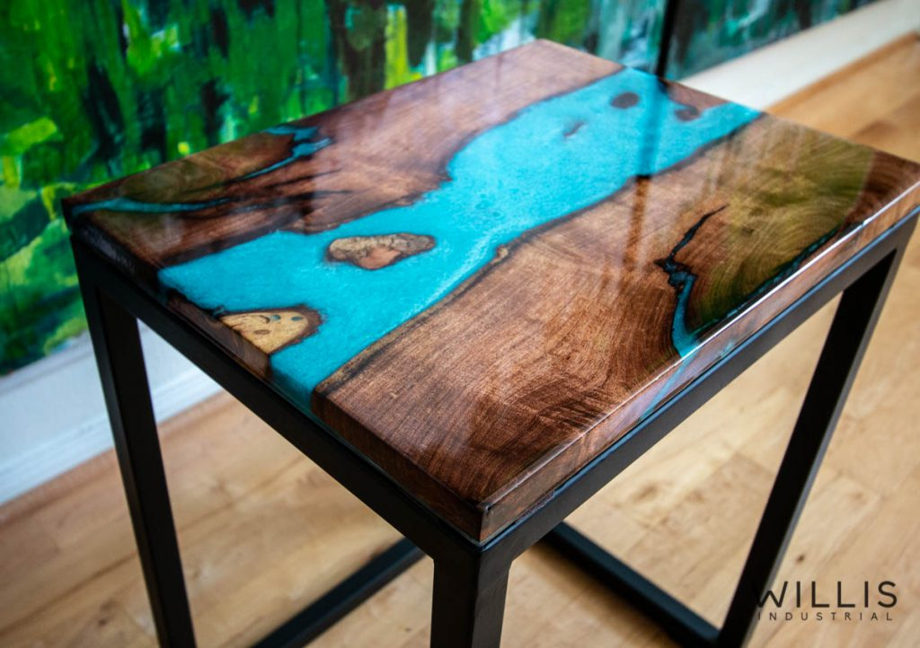 Willis Industrial Furniture | Rustic, Modern Furniture | Mesquite Boards with Turquoise Epoxy & Black Painted Steel Cubed Frame