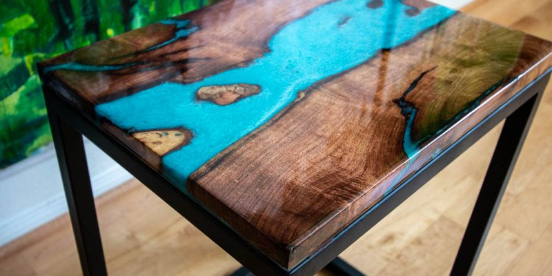 Mesquite Table with Turquoise Epoxy