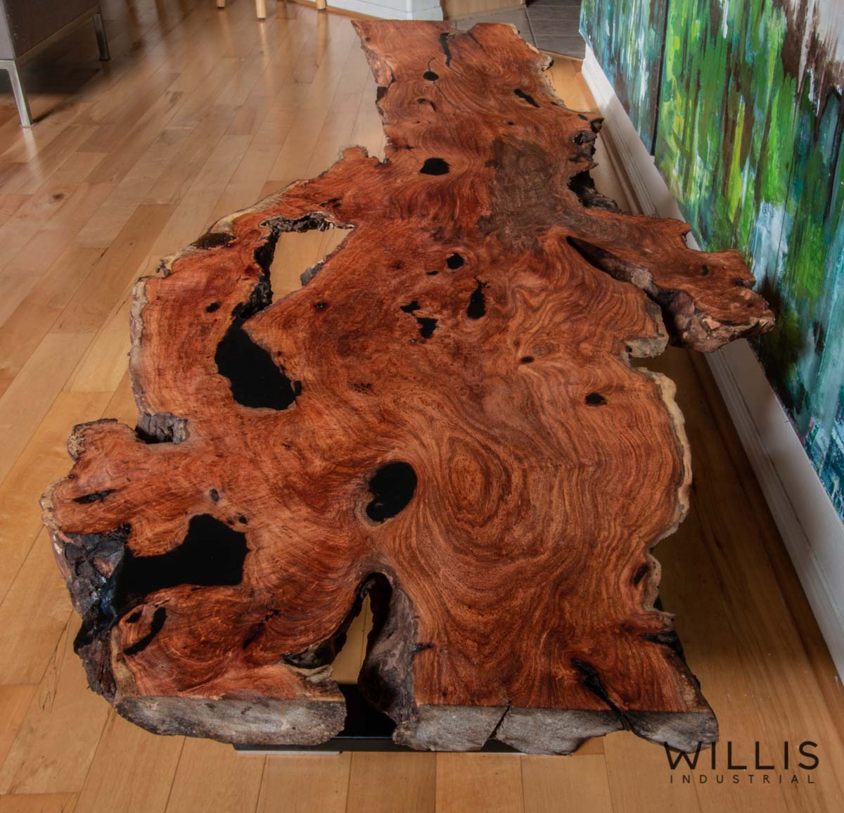 Willis Industrial Furniture | Rustic, Modern Furniture | Mesquite Slab with Black Epoxy & Black Painted Steel Cubed Frame