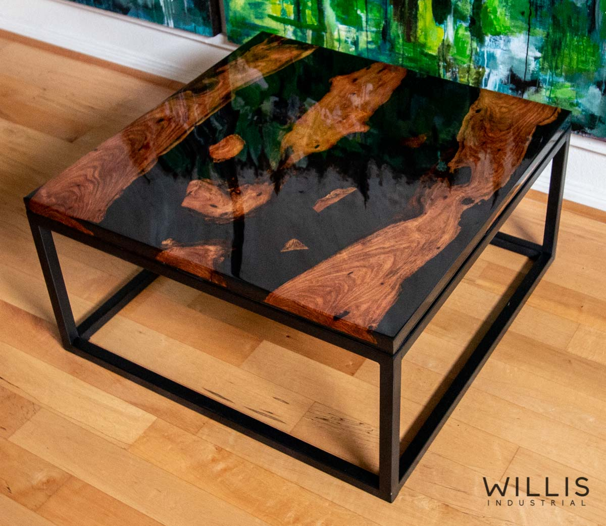 Willis Industrial Furniture | Rustic, Modern Furniture | Mesquite Inverted Live Edge Boards with Black Epoxy & Black Painted Steel Cubed Frame