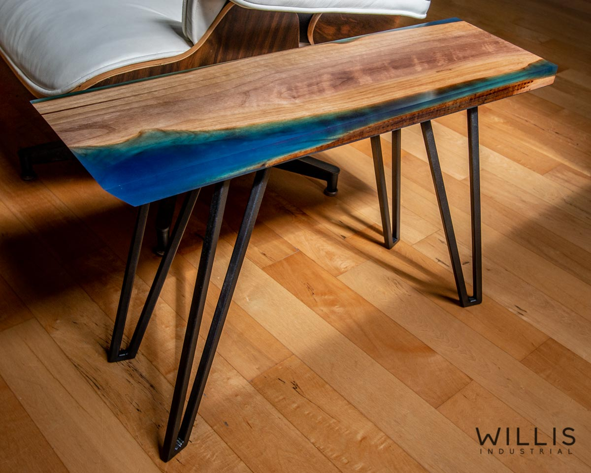 Willis Industrial Furniture | Rustic, Modern Furniture | Walnut Narrow Coffee Table with Cerulean Blue Epoxy & Black Painted Steel Hairpin Style Legs