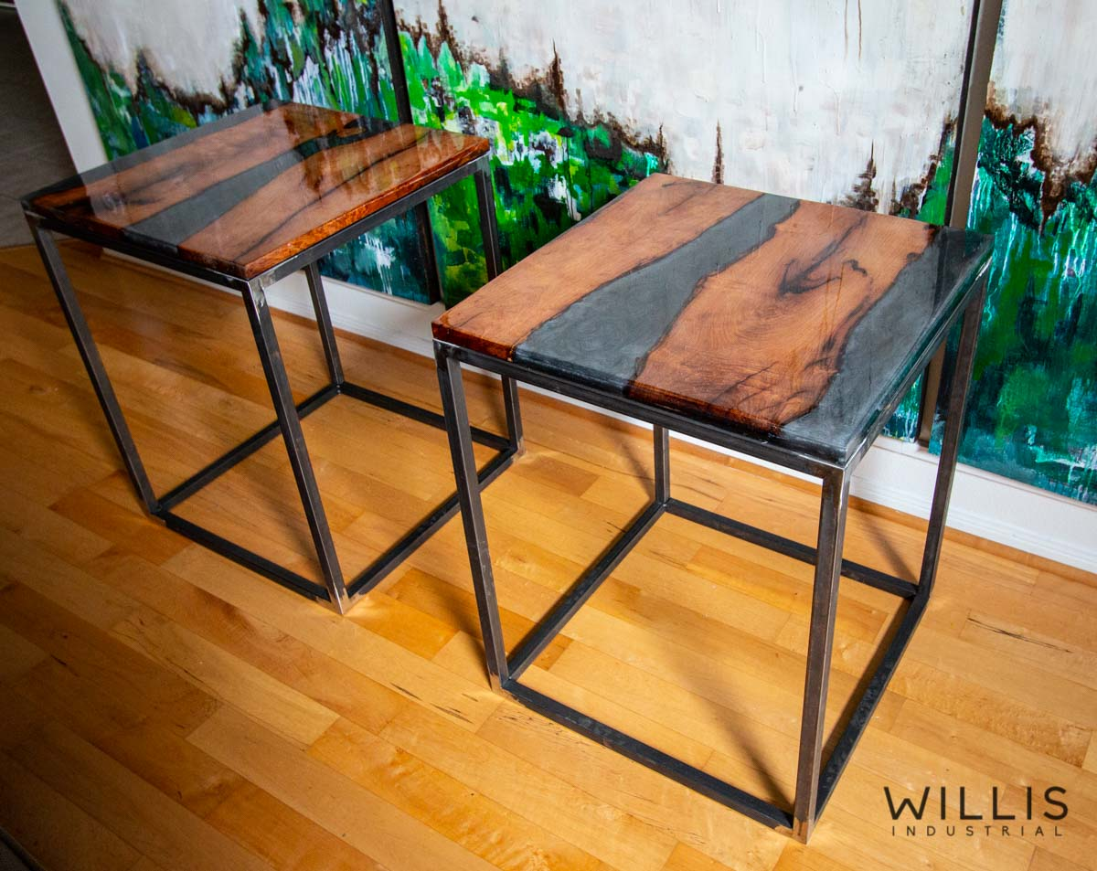 Willis Industrial Furniture | Rustic, Modern Furniture | Mesquite Inverted Live Edge Boards with Transluscent Smoke Epoxy & Black Painted Steel Cube Frame