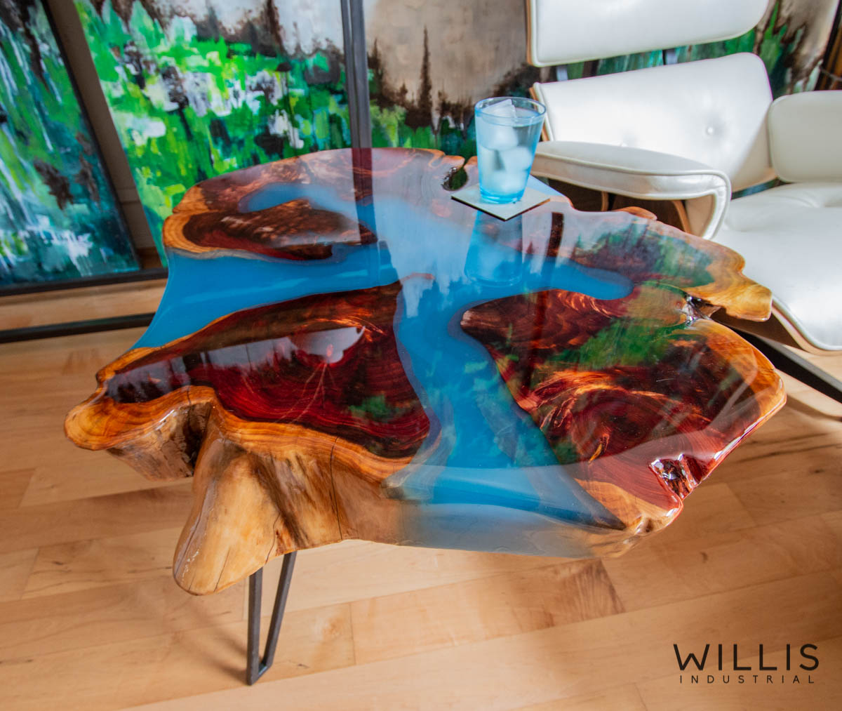 Willis Industrial Furniture | Rustic, Modern Furniture | Cedar Slab Round with Translucent Blue Epoxy & Custom Black Painted Steel Hairpin Style Legs