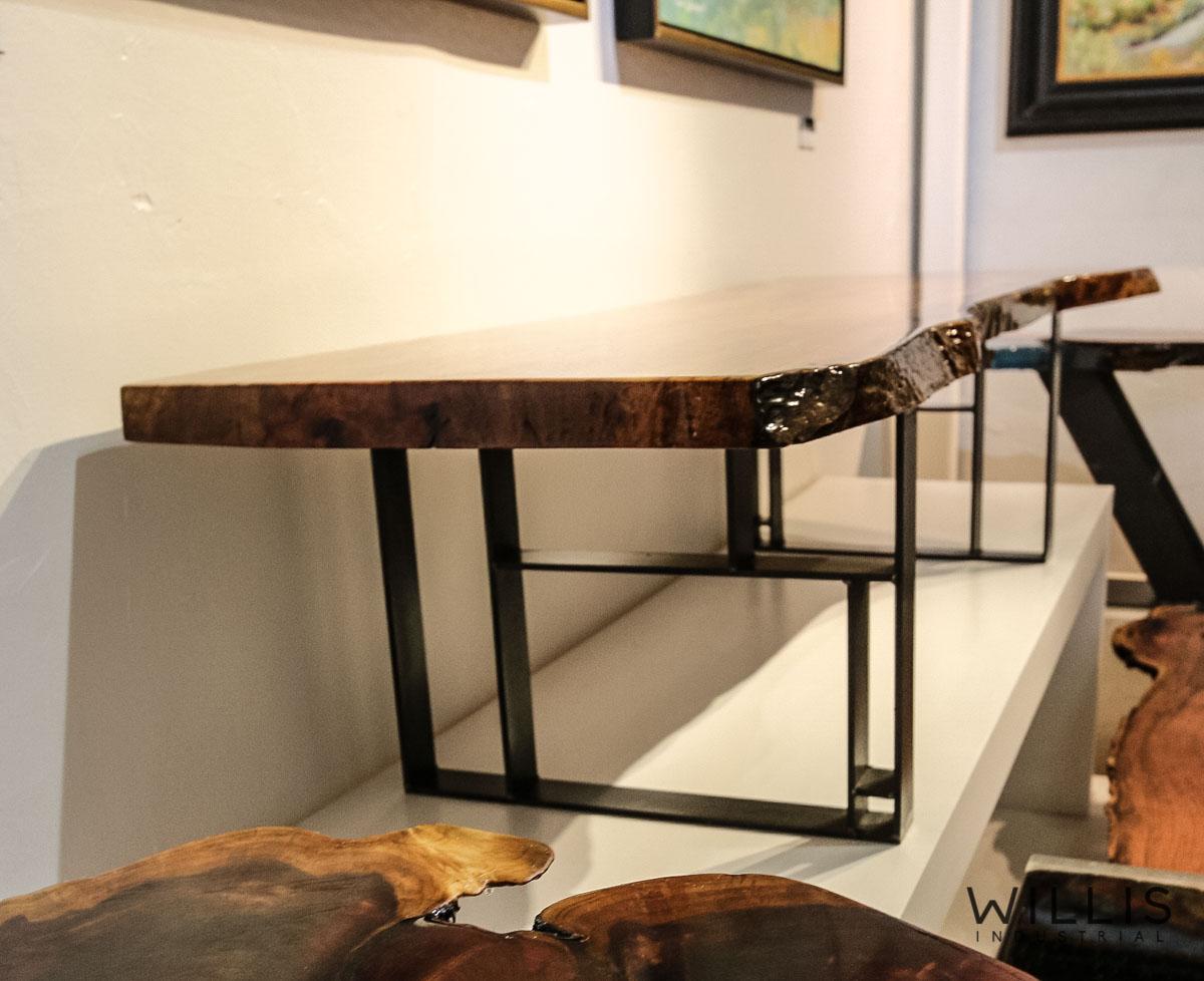 Willis Industrial Furniture | Rustic, Modern Furniture | Pecan Slab Coffee Table with Coke Bottle Green Epoxy & Custom Waxed Natural Geometric Legs