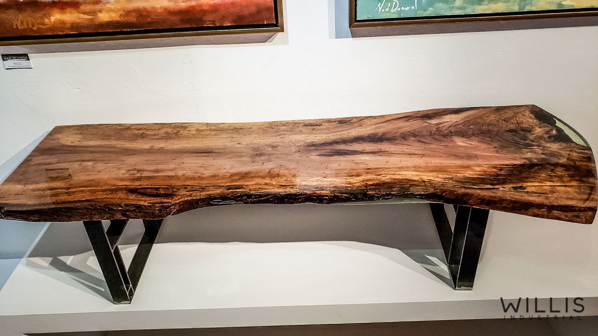 Willis Industrial Furniture | Rustic, Modern Furniture | Pecan Slab Coffee Table with Coke Bottle Green Epoxy & Custom Waxed Natural Geometric Legs