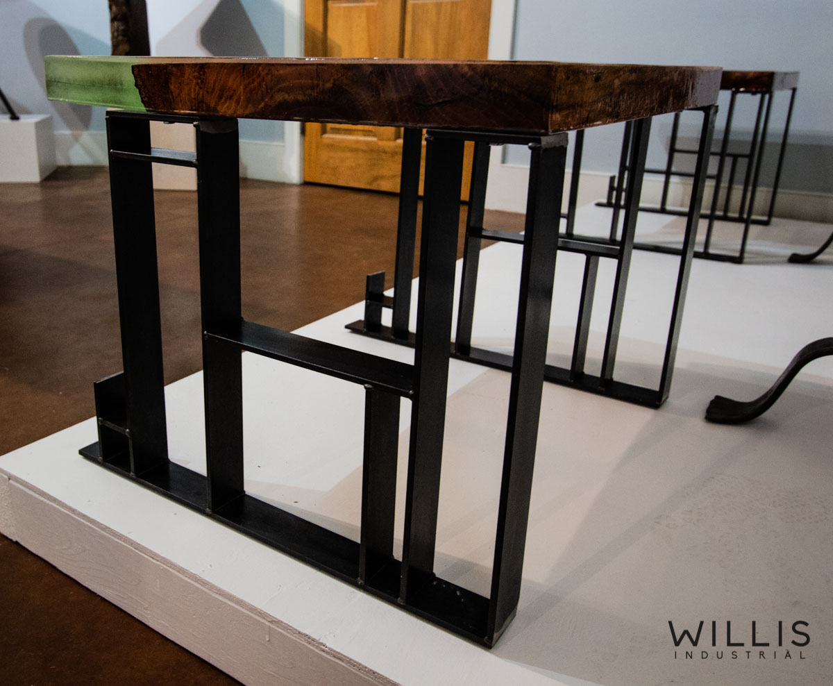 Willis Industrial Furniture | Rustic, Modern Furniture | Pecan Slab Side Table with Coke Bottle Green Epoxy & Custom Waxed Natural Geometric Legs