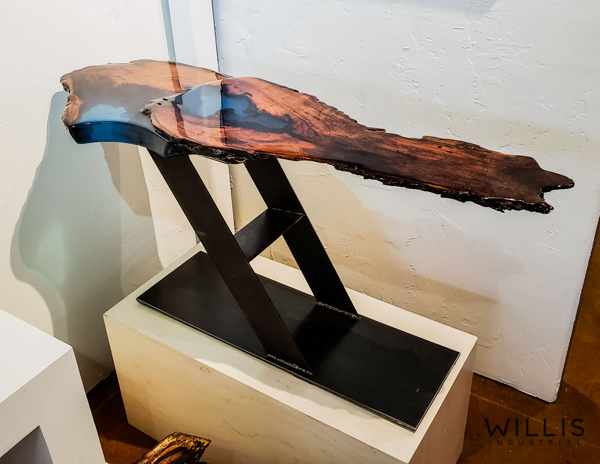 Willis Industrial Furniture | Rustic, Modern Furniture | Sculpted Mesquite with Blue Transparent Epoxy & Custom Painted Angled Heavy Set Base