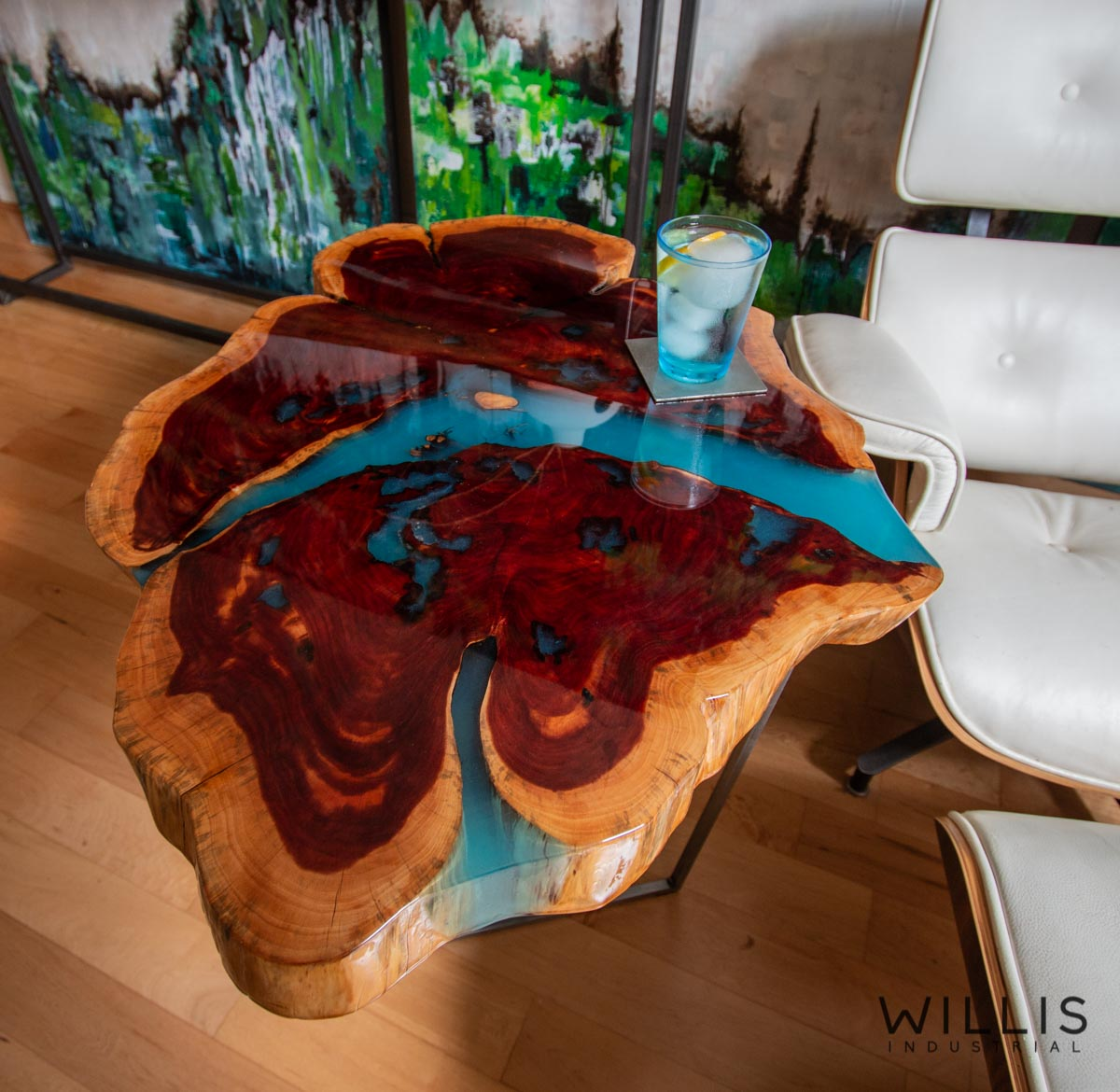 Willis Industrial Furniture | Rustic, Modern Furniture | Cedar Round with Blue Transparent Metallic Epoxy & Custom Waxed Trapezoid Steel Base