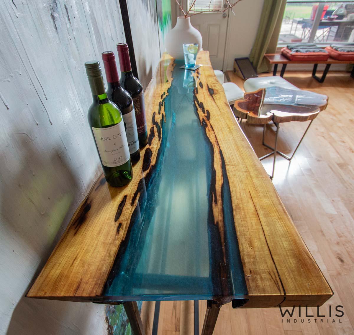 Willis Industrial Furniture | Rustic, Modern Furniture | Mulberry Live Edge with Blue Transparent Metallic Epoxy & Custom Steel Base