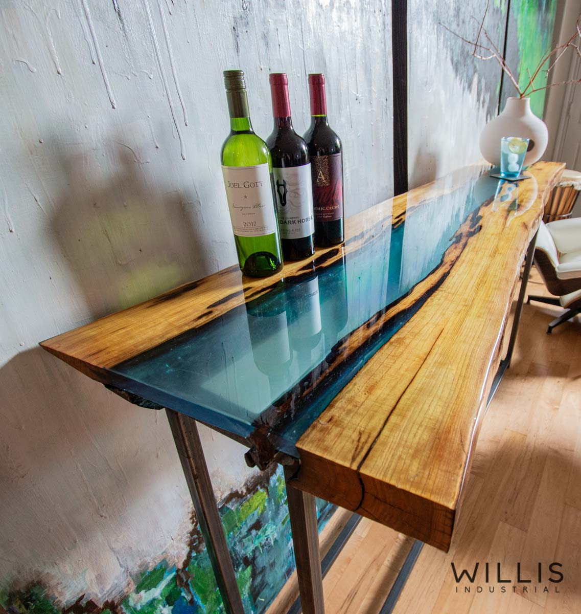 Willis Industrial Furniture | Rustic, Modern Furniture | Mulberry Live Edge with Blue Transparent Metallic Epoxy & Custom Steel Base