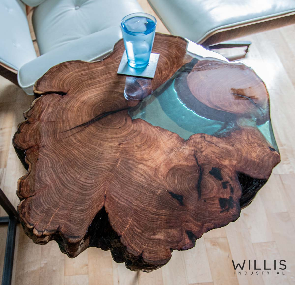 Willis Industrial Furniture | Rustic, Modern Furniture | Mesquite Slab Round with Mint Transparent Epoxy & Custom Steel Base (made to order)